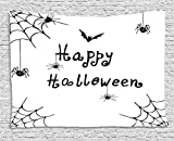 daawqee Spider Web Tapestry Happy Halloween Celebration Monochrome Hand Drawn Style Creepy Doodle Artwork for Living Room Bedroom Dorm 80 W X 60 L Inches Unique Home Decor