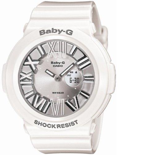 Casio BGA160-7B1 Women's Baby-G Shock Resist Ana-Digi Silver Dial White Resin Alarm Watch
