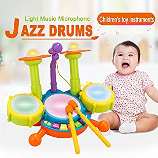 AIHOME Drum Set Music Toy Instrument Educational Play Beats Kit Flash Light With Adjustable Microphone For Kids Children Puzzle Early Educational Toy Various Functions And Activity