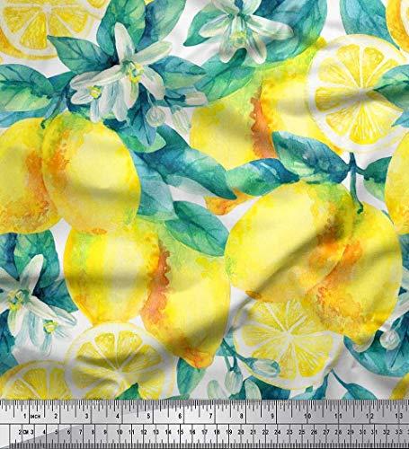 le Batist Stoff Blätter, und Zitrone Gemuse Dekor Stoff gedruckt 1 Meter 56 Zoll breit ()