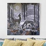 Bilderwelten Cuadro en lienzo - Jean Dunand - Gazelles - Lacquered Wood Panel - Cuadrado 1:1, cuadros cuadro lienzo cuadro de lienzo cuadro sobre lienzo cuadro moderno cuadro decoracion cuadros decorativos cuadro xxl, Tamaño: 30cm x 30cm