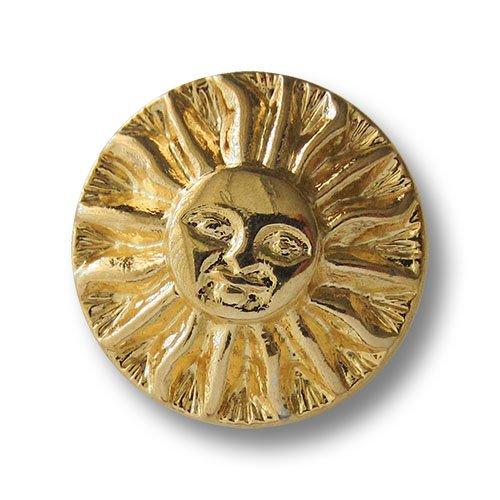 Knopfparadies - 6er Set bildschöne glänzend goldfarbene Metall Ösen Knöpfe mit plastischem Sonnen Motiv mit Gesicht / glänzend goldfarben / Metallknöpfe / Ø ca. 26mm
