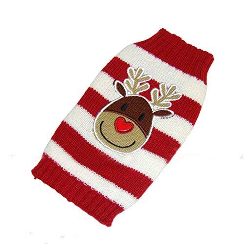 Weihnachten Rentier Rot Weiss Gestreiften Pullover Warme Kleidung Fuer Hunde M - 4