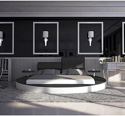 Innocent Cama redonda de180x 200cm, hecha de piel, ajustable, con reposacabezas, madera de ébano, color blanco y negro