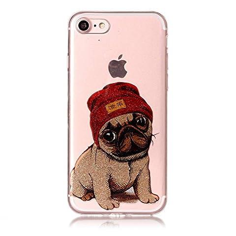 iPhone 7 / iPhone 8 Hülle, Chreey Glitzer Muster Transparent Handyhülle Niedlich Mode Süß Temperament Weiche TPU Silikonhülle Case Ultra Dünn Kratzfest Durchsichtige Hülle Backcover [Cool Dog]