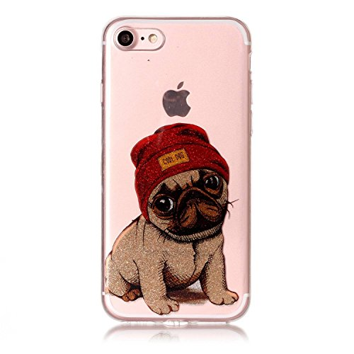 Preisvergleich Produktbild Hozor Niedlich Mode Glitzer Muster Ultra Dünn Durchsichtige Handy Hülle für iPhone 7 4.7 zoll Stylish Weiche Silikon TPU Handy Schutzhülle Bumper Case - Cool Dog