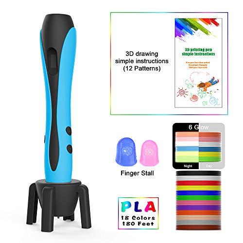 OneAmg 3D Stifte für Kinder mit PLA Filament 16 Farben, 3D Drucker Stift 3D Printing Pen Set Intelligent mit LCD Display, 3D Pen als kreatives Geschenk für Kinder Zeichnung, Schaufel Tools(Blau) (Schaufel E-tool)
