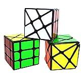 Maomaoyu Speed Cube Set, Fisher Cube+Hot Wheels Cube+Axis Cube, Cubo Magico de la Velocidad Caja de Regalo de 3 Piezas Set Negro
