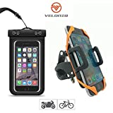 Veloniq® | Universal Anti Shake Bicycle Mount Phone Holder and Waterproof Phone Case Kit | Bike Cradle Clamp for iOS Android Smartphones, GPS and Other Devices | Rotates 360 Degrees | Rubber Strap | Watertight Sealed | eBook Instructions Included
