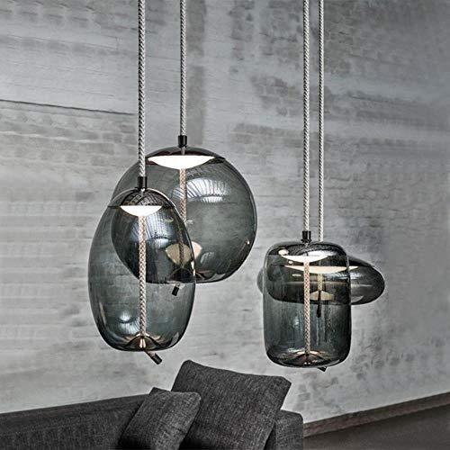 Bernstein Glas-modell (Nordic kreative Glas Pendelleuchten moderne einfache Esszimmer Dekoration Beleuchtung Schlafzimmer Nacht LED Glas Modell Hängelampe, A, Bernstein Farbe)
