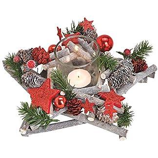 matches21-Adventsgesteck-Stern-Holz-winterlich-dekoriert-mit-Grn-Zapfen-Kugeln-Stern-1-Teelichtglas-1-STK-25×25-cm