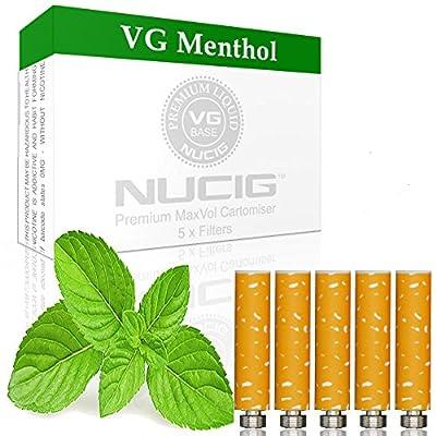NUCIG 0MG Menthol Refill cartomiser Filter | ***VG Premium | for e shisha e hookah e cigarette electronic cigarette ego by NUCIG