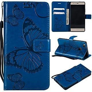 LMFULM® Hülle für Huawei P9 Lite/VNS-L31 (5,2 Zoll) PU Leder Magnet Brieftasche Lederhülle Schmetterling Geprägtes Design Stent-Funktion Flip Cover für Huawei P9 Lite 2016 Blau
