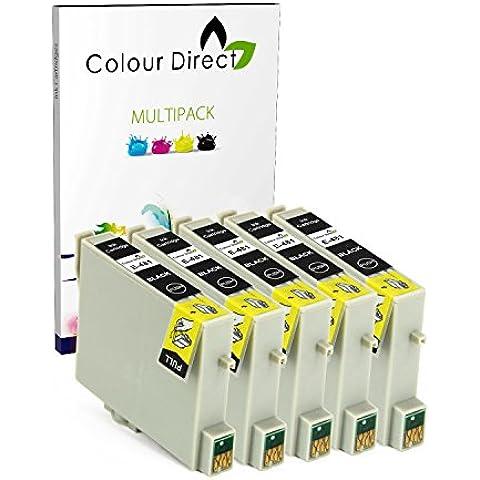 5 Negro Colour Direct Compatible cartuchos de tinta Reemplazo para Epson Stylus Photo R200 R220 R300 R300M R320 R330 R340 RX300 RX320 R350 RX500 RX600 RX620 RX640 impresoras
