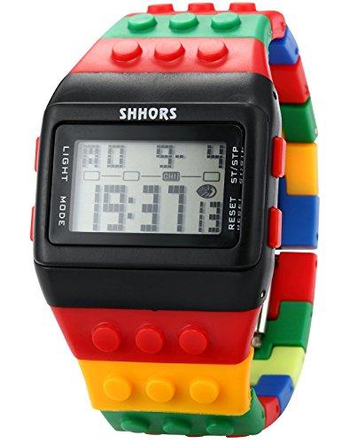 SHHORS Reloj LED Rainbow Creativa Pulsera Silicona LCD Sportive muñecas Gran-Hombre Mujer niño...