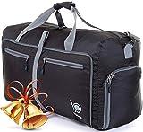 Bago Reisetasche - diese faltbare, 53l große Reisetasche ist beständig, packbar, SUPERLEICHTE 410g mit abnehmbarem Schulterriemen - lässt sich in sich falten - am besten als Gepäck oder Sporttasche - VERMEIDEN SIE GEBÜHREN FÜR ÜBERGEPÄCK - 100% ZUFRIEDENHEITSGARANTIE (Schwarz)