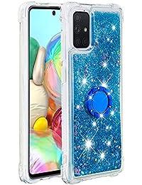 Funda Samsung Galaxy A71 TPU Silicona Purpurina Carcasa,Funda para teléfono móvil de Arena movediza líquida en con Base de Anillo de Diamantes (Amor Azul)