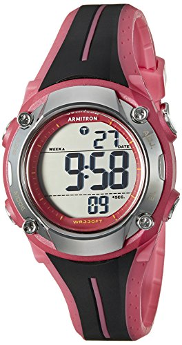 Armitron Sport 45/7063pnk de la mujer digital Cronógrafo Negro y rosa correa de resina Reloj