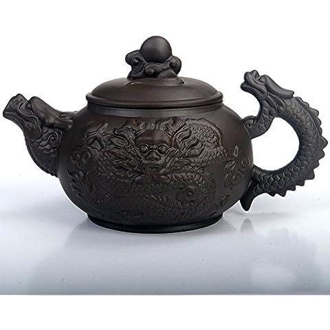saibang cinese Zisha Viola argilla teiera in porcellana teiera, nuovo design a mano Drago Casa, capienza 380cc, Black, 13oz