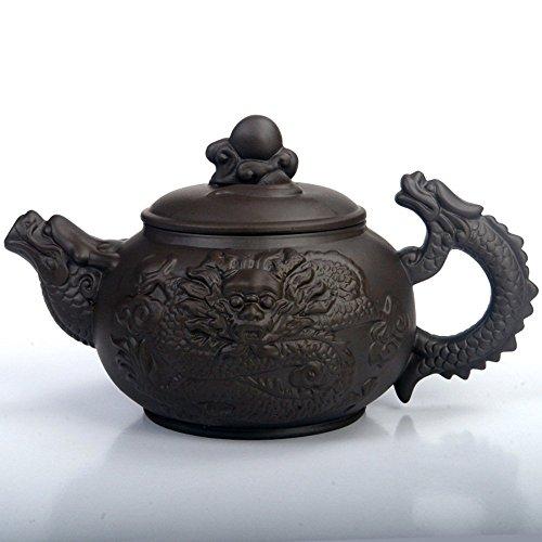 saibang Chinese Zisha violett Clay Teekanne, New Design handgefertigt Dragon Porzellan Teekanne Home Décor, hält 380cc, schwarz, 13oz