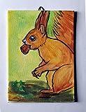 Lo Scoiattolo-Dipinto a mano su cartoncino telato,dimensioni cm 13x18x0,3cm,pronto per essere attaccato alla parete.Made in Italy,toscana Lucca.Creato da Davide Pacini.