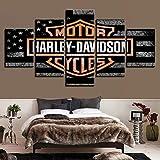 BOYH Toile des Photos Art Mural Impressions HD Affiche 5 pièces Harley Davidson Moto Vélo Peintures Modulaire Décor de Salon,A,30×50×2+30×70×2+30×80×1