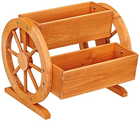 Habau Flower Box with Wagon Wheels - Giardinaggio