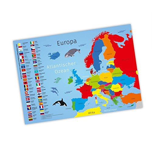 nikima Kinder Lernposter Europa - Plakat für Kindergarten Schule Schulanfang Schuleintritt Einschulung Kinderzimmer Deko Wandbild - Größe DIN A2-594 x 420 mm
