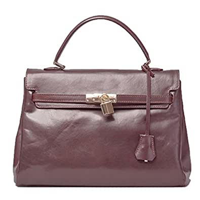 Maxwell Scott® Luxury Italian Leather Women's Kelly-Style Handbag (Riana), Dark Chocolate