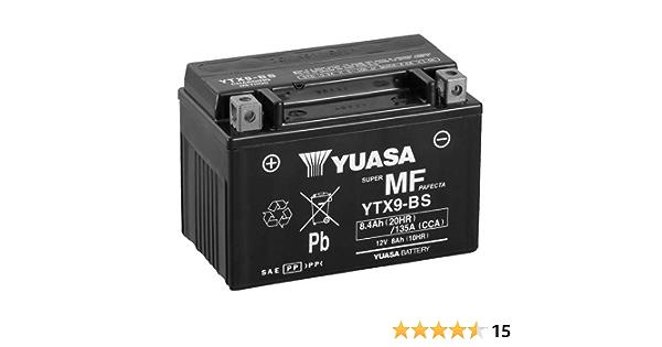 Batterie Yuasa Ytx9 Bs Wc Agm Geschlossen 12v 8ah Cca 135a 152x87x107mm Für Kawasaki Z750 Abs Baujahr 2008 Auto