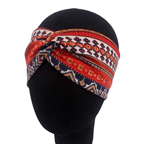 Hacoly Sport Streifen Kreuz stirnband Damen Ethnisch Weiche Schlauchtuch Haar Band Elastisches Yoga Retro Headbands Turban für Valentinstag Geschenke Frauen Mädchen - Rot - Ethnische-streifen
