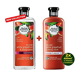 HERBAL ESSENCES Bio-Renew Volume WHITE GRAPEFRUIT & MOSA MINT Shampoo & Pflegespülung 2x 400ml - mit Grapefruit & Mosa Minze