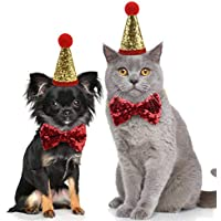Idepet Gorros de Navidad para Perros y Gatos Sombreros De Lentejuelas Brillo Traje de Bowknot Pajarita Artículos para Fiestas de cumpleaños para Mascotas Accesorios de Cosplay Fiesta del Festival