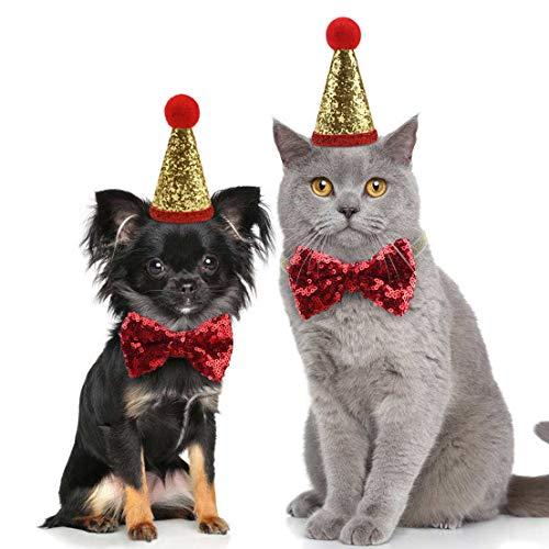 Idepet Weihnachtsmütze, für Hunde und Katzen, mit Pailletten besetzt, für Halloween, verstellbare Kopfbedeckung, Fliege, Haustier-Geburtstag, Party, Cosplay, Zubehör, Festival, Party MEHRWEG