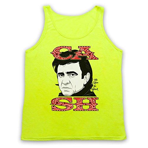 Johnny Cash The Man In Black Tank-Top Weste Neon Gelb