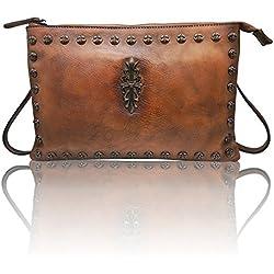 LETEULO Bolso de hombro mediano del bolso del hombro de la pulsera de las mujeres Bolso de lujo(Marrón)