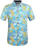 SSLR Herren Sommer Strand Baumwolle Button Down Kurzarm Hawaii Hemd (XX-Large, Blau)
