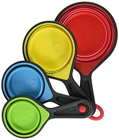 Daixers Collapsible Silicone Measuring Cups/spoons Set Of 4 Piece,(1/4Cup,1/3Cup,1/2Cup & 1Cup)