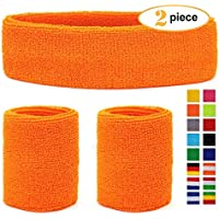 HikBill Schweißbänder Set inkl Sport Stirnband und Handgelenk Schweißbänder für Laufen Fahrrad Joggen Tennis Fußball
