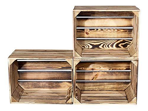 Vinterior 4 Stück Holzkisten Obstkisten Apfelkisten Weinkiste 50cm x 40cm x 30cm (LxBxH)
