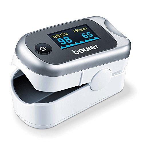 Beurer - Pulsioxímetro de dedo PO 40, medidor de saturación de oxigeno en la sangre y el pulso, color blanco y plata, 57 x 35 x 30 mm, 55 g