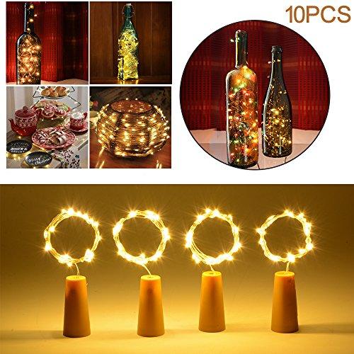 20 LED Kork-Form Bar String LED Leuchten für Weinflasche Glasdekor Kupferdraht DIY Lichter Warmweiß Für Party Festival LD978 ()