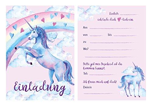 Fröhliche und schöne Einladungskarten zum Kindergeburtstag mit Einhorn / Unicorn Motiv, Geburtstagseinladungen / Einladungen Karten Set für Geburtstagsparty Kinder Erwachsene Mädchen mit Einladungstext (9)