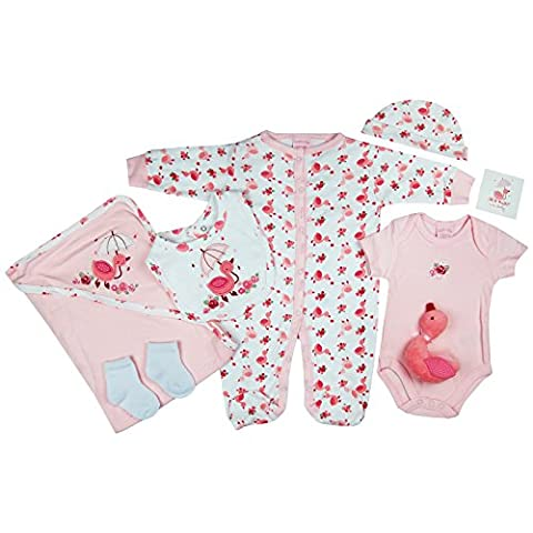 Presents Gifts For Newborn Baby Boys Girls Toddler Unisex Cute Clothing Sets 0-3 Months Outfits Bundles 7 pc Pack White/Pink Duck First Christmas Xmas Christening From Aunty