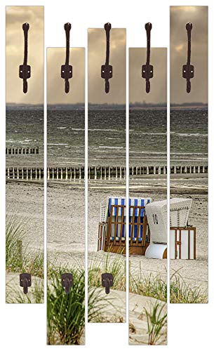 Artland Qualitätsmöbel I Garderobe mit Motiv 5 Holz-Paneele mit Haken 63x114 cm Einsamer Strand 'Schwarzer Busch' auf der Insel Poel