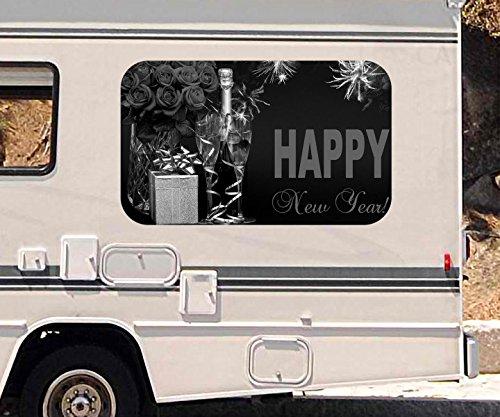 3D Autoaufkleber Sekt Glas Flasche New Year Sylvester Feuerwerk schwarz weiß Wohnmobil Auto Fenster Sticker Aufkleber 21A1156, Größe 3D sticker:ca. 120cmx73cm