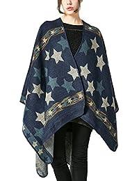 Aivtalk - Poncho Estampado Estrella Étnico para Mujer Capa de Lana para Invierno Calentito Elegante Cárdigan