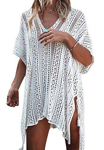Tkiames Femmes crochet Dentelle BlouseMaillot de Bain Cache-maillots Couverture Pareos Cardigan Plage Bikini Couvrir Plage Poncho