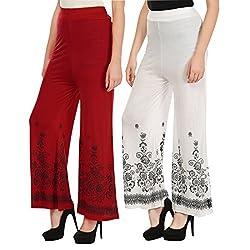 Haniya Free Size Combo of Printed Viscose Palazzos for Women (Red & White)