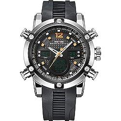WEIDE Men's Sport Military Analogue Digital Quartz Rubber Watch with Dual Time Auto Date (Orange)
